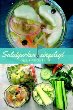 Salatgurken einlegen ohne Kochen – heute wird leichter Proviant gebunkert Pickled cucumbers yourself, quick recipe with variations. Perfect provisions for camping or sailing. Vegan and without additives. Yogurt Recipes, Veggie Recipes, Superfood, Whole Grain Rice, Pumpkin Risotto, Probiotic Foods, Mets, Nutrition, Group Meals