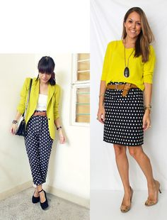 polka skirt + yellow sweater