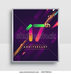 17th years anniversary logo, vector design for invitation and poster seventeen years birthday celebration with colorful abstract background isolated on white background.
