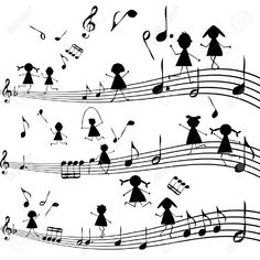 Music note with stylized kids silhouettes Stock Vector - 17311018