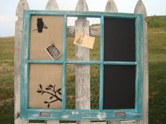 Vintage Window Corkboard, Chalkboard, And Chickenwire Combo