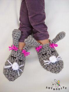 Artmorixe - Labores y manualidades: Pantunflas conejitas a crochet- Reto Iregumy. Paso a paso