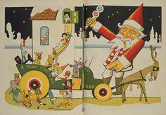 """illustrated by Takei Takeo Santa Gets Ready to Go """"Kodomo no kuni"""" 1931.12"""