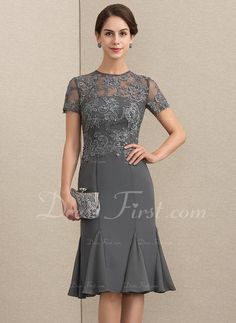 US 142 00 Sheath Column Scoop Neck Knee-Length Chiffon Lace Mother of the Bride Dress With Beading Sequins Mother Of Bride Outfits, Mother Of Groom Dresses, Mother Of The Bride, Long Formal Gowns, Long Cocktail Dress, Bride Gowns, Custom Dresses, Special Occasion Dresses, Dress Patterns