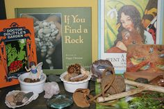 Spring nature table!    We're getting ready for spring- gathering treasures for the spring nature table. Home made sling-shots, books, stones and shells. Inspiration for the new season!