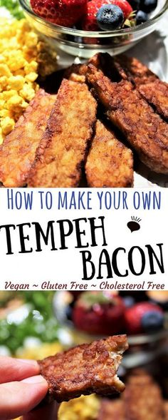 Tempeh Bacon is a delicious, gluten free, vegan bacon alternative! Eat it for breakfast, put it in a vegan BLT or on a veggie burger! Most recipes that call for bacon can be swapped with this healthy, plant based, tempeh bacon! thehiddenveggies.com