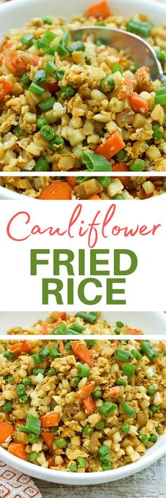 This recipe for Cauliflower Fried Rice is super easy to follow with simple ingredients and makes a quick and easy healthy dinner recipe idea!