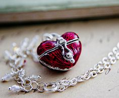 Heart Shaped Box Necklace Locket Sterling Silver by PoleStar