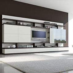 Wall to wall tv unit italian design tv wall unit modern tv wall unit modern tv Tv Wall Design, Tv Unit Design, Design Case, House Design, Living Room Wall Units, Living Room Designs, Muebles Rack Tv, Tv Feature Wall, Tv Wanddekor