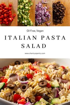 Vegan Italian Pasta Salad that is sure to knock your socks off. #veganfood #italianpastasalad #veganrecipes #dairyfree #oilfree #chantryspantry