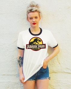 Vintage Style Jurassic Park Ringer T-Shirt by FiftyEggs on Etsy Jurassic Park T Shirt, Ringer Tee, Vintage Fashion, Vintage Style, My Outfit, T Shirts For Women, Outfits, Tees, Clothes