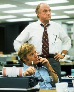 Robert Redford and Jack Warden in a still from the film, 'All the President's Men', Robert Redford, Movie Photo, Movie Tv, Movies Showing, Movies And Tv Shows, Jack Warden, What About Bob, Denis Villeneuve, Buy Movies