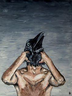 Raven. Selportrait with mask. More information on www.dickykapel.nl or dfakapel@hotmail.com