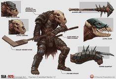 Carrien - SLA Industries Concept Art by DaveAllsop on DeviantArt Warrior Concept Art, Fallout Concept Art, Fantasy Warrior, Fantasy Art, Fallout Art, Fantasy Monster, Monster Art, Creature Concept Art, Creature Design