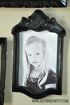 Make a classy picture frame with the backing of a beat-up chair.