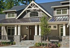 Traditional exterior, house with metal roof, tin roof house, black metal ro House Siding, House Roof, Exterior House Colors, Exterior Design, Roof Design, House Design, Metal Roof Houses, Brick Houses, Porch Columns