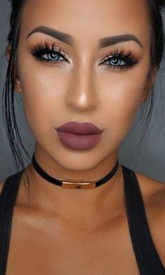 Highlight + Contouring + Purple Lips + Lashes + Gold Eyelid + Drama Liner                                                                             Source