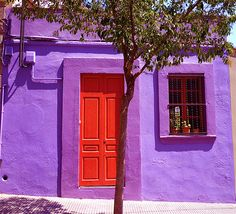 New red door house stairs Ideas Purple Home, Door Knockers, Door Knobs, Shades Of Purple, Red Purple, Red Door House, When One Door Closes, Cool Doors, House Stairs