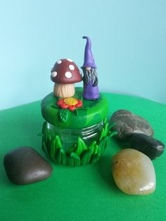 Polymer clay miniature toadstool glass jar £2.99