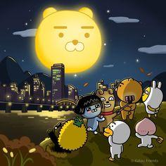 """13.8k Likes, 95 Comments - 카카오프렌즈 • KAKAOFRIENDS (@kakaofriends_official) on Instagram: """"- 동글동글 라이언 보름달 처럼, 행복하고 풍성한 한가위! 카카오프렌즈와 함께 즐거운 추석 연휴 보내세요! - Spend Korean thanksgiving while…"""""""