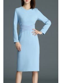 Patchwork Knee Length Sheath Dress - Blue S