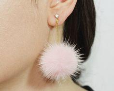 SaleFront back fur earrings White mink fur earrings by DIANPEARL