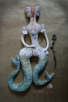 Genevieve von Ula textile art doll soft sculpture Siamese twins mermaid