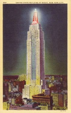 vintage new york images | Walk+in+New+York+-+Vintage+-+Postcard+-+Empire+State+Building+at+night ...