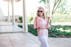 Pink ruffled shoulder blouse