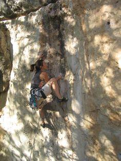 Shelley climbing at Jacks Canyon (AZ)