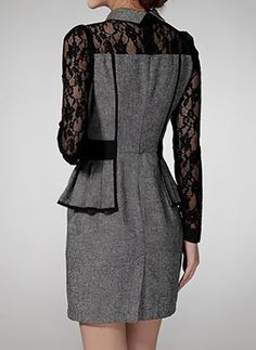Cyber Monday Elegant Lace Collar Above Knee X-line Dress - Floryday Spring Dresses, Day Dresses, Casual Dresses, Fashion Dresses, Dresses With Sleeves, Gray Dress, Lace Dress, Mode Outfits, Mode Style