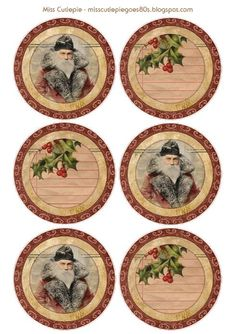 Free printable - Vintage Christmas images to put on stickers / labels.  Designed by MissCutiePie