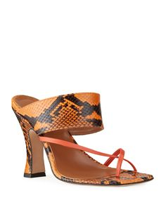 Python-Print Crossover Thong Sandals by Paris Texas at Neiman Marcus Mule Sandals, Mules Shoes, Heeled Mules, Paris Texas, Python Print, Dream Shoes, Calf Leather, Neiman Marcus, Fendi