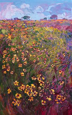 Texas wildflowers landscape oil painting