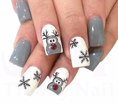 Winter Nails 2019, Winter Nail Art, Winter Acrylic Nails, French Nails, Elegant Nail Art, Christmas Nail Art Designs, Easy Christmas Nail Art, Snowflake Nail Design, Snowflake Nails