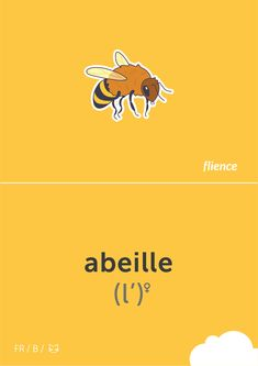 Abeille  #flience #animal #insects #english #education #flashcard #language French Flashcards, Insects, Language, Education, Bee, Speech And Language, Language Arts, Educational Illustrations, Learning