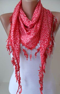 Red  Leopard Print  Scarf with Trim Edge by SwedishShop on Etsy, $15.90