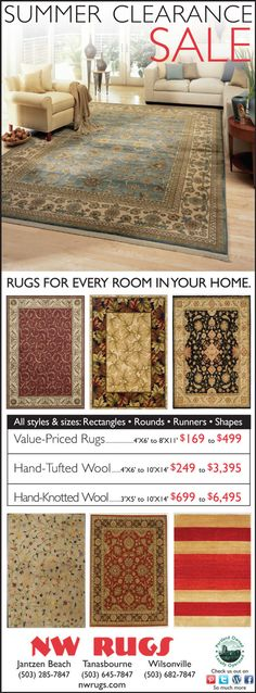 Summer Clearance Sale in Portland Oregon Showrooms this weekend. Rugs for every room in your home.