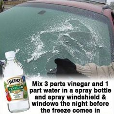 Avoid scrapping ice off your windshield each morning with this simple, homemade solution! If your windshield is already frozen spray this solution on it to help melt the ice quicker. Check these other great tricks to avoid some winter inconveniences Simple Life Hacks, Useful Life Hacks, Car Cleaning, Cleaning Hacks, Shower Cleaning, Winter Car, Winter Hacks, Winter Tips, Car Hacks