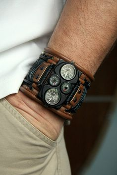 Mens wrist watches leather bracelet Voyager.  Wrist watches with leather cuff «Voyager», embodying the image of an attractive male confidence and