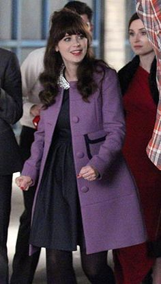 Purple coat with pockets on New Girl