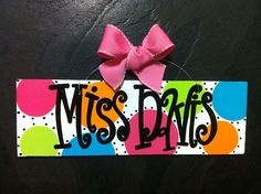 4x12 Personalized Teacher Name Sign Hand by geauxgirldesigns, $25.00
