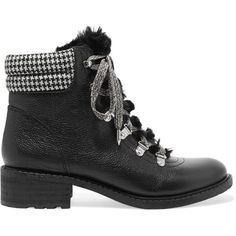 Sam Edelman Darrah faux fur-trimmed textured-leather ankle boots (£125) ❤ liked on Polyvore featuring shoes, boots, ankle booties, gray booties, lace up booties, grey ankle boots, black bootie and gray ankle boots