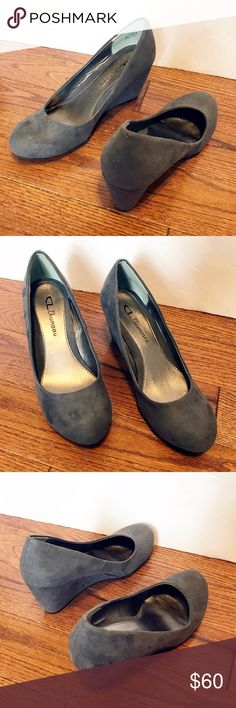 Chinese Laundry gray suede wedges Chinese Laundry gray suede wedges  Item: Chinese Laundry gray suede wedges Color: gray Style: wedged Size: 7 Excellent Used Condition!  **Please see all photos. Feel free to ask any questions before purchase** Chinese Laundry Shoes Wedges