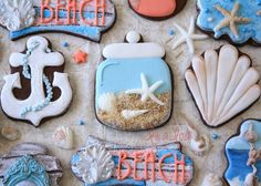 Learn how to make decorated seashell jar cookies with royal icing and fondant ~ tutorial Spice Cookies, Fancy Cookies, Cute Cookies, Cookie Frosting, Royal Icing Cookies, Fondant Flower Cake, Fondant Bow, Fondant Tutorial, Fondant Cakes