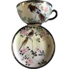 Japan Tea Cup & Saucer Birds Scene Porcelain Hand Painted Blue Signed on Bottom Vintage
