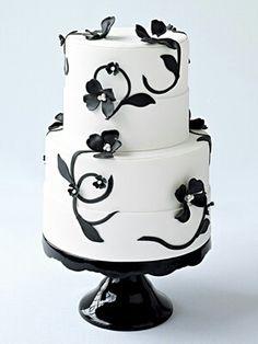 Beautiful simple black and white cake