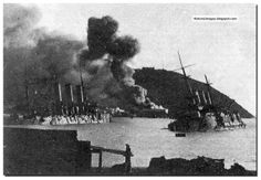 Russian ships sunk by the Japanese at Port Arthur during the Russo Japanese War (1904-05).