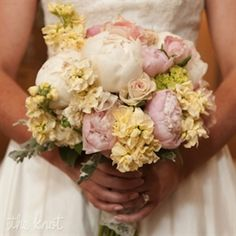 4. White and pink peony with yellow snapdragon as filler.