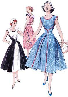 "MISSES' WRAP DRESS: Three pattern pieces, darted in front and back, with back waist and shoulder seams. Back wraps around to the front for a sheath-and-overskirt look. A: contrast back and skirt. Bias tape finished edges.         NOTIONS: Dress A, B: Three Packages of 1/2"" Double Fold Bias Tape and 3/8"" Snaps. Also for A: Two 7/8"" Buttons. For B: One 7/8"" Button and Three 5/8"" Buttons.         FABRICS: Lightweight Broadcloth, Lightweight Piqué, Lightweight Linen and Taffeta."